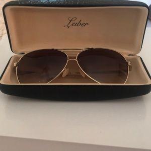 Judith Leiber Gold Crystal Aviator Sunglasses